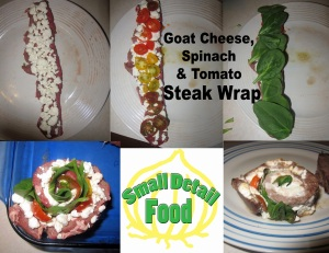 tomato spinach goat cheese steak wrap